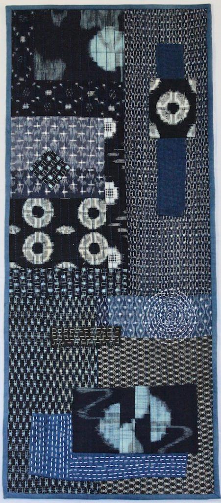 Enso - Zen Circle 2018 14.5 x 33.5 Boro style quilt using vintage Japanese kauri, irate and indigo fabric
