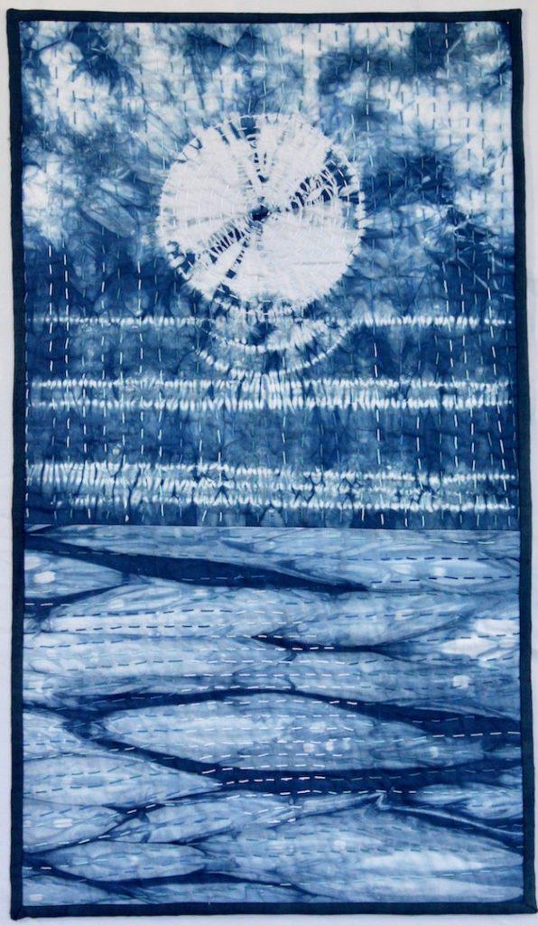 Tsukimi - Moon Viewing 2018 15.5 x 27 Hand dyed indigo cotton using shibori techniques, big stitch quilting