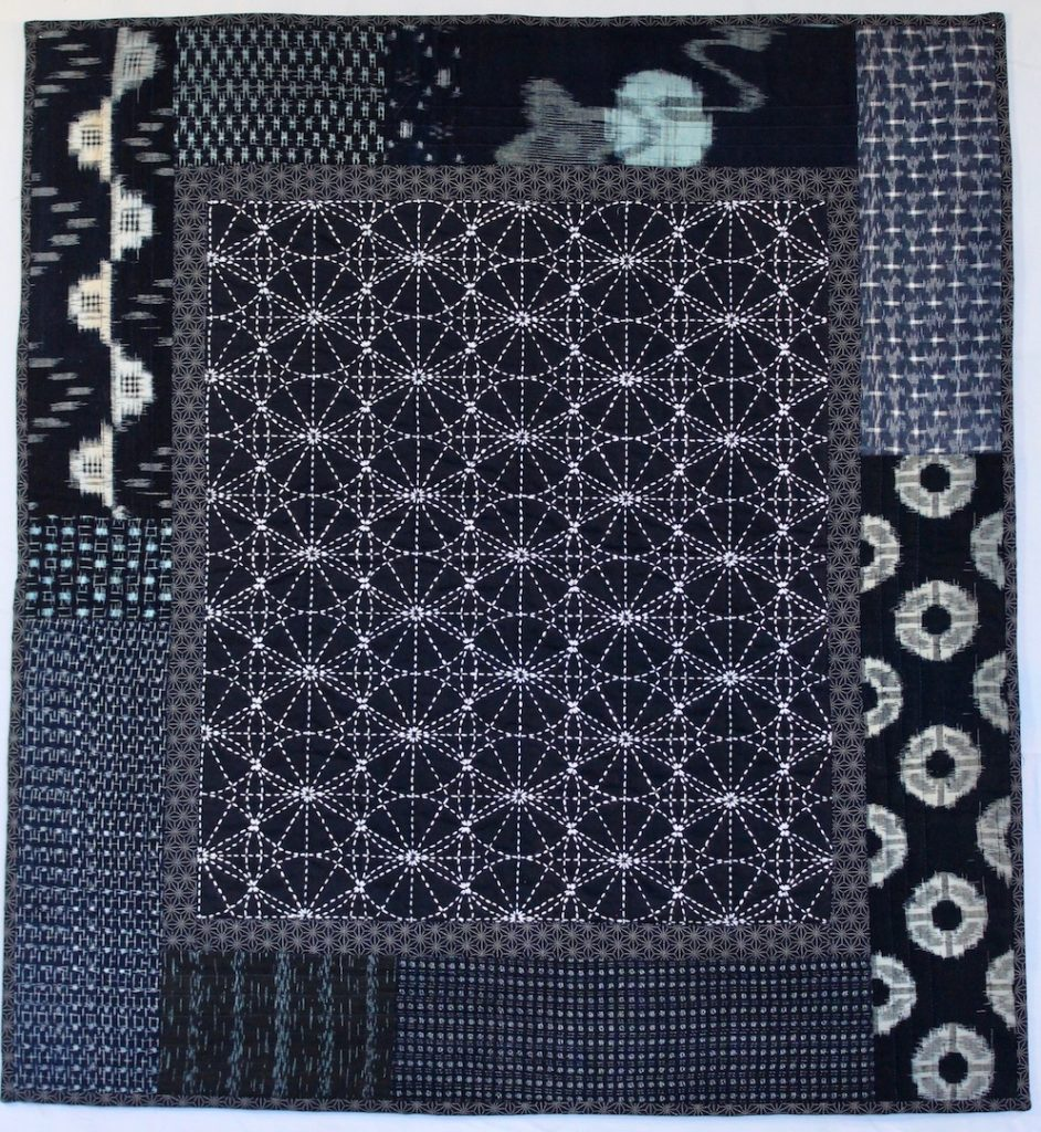 Sashiko 2016 27.5 x 29.5 Traditional sashiko pattern surrounded by vintage indigo kauri and irate fabric