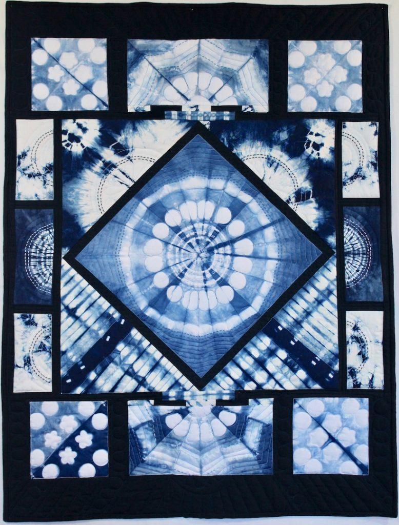 Hanabi 2018 36 x 40 Hand dyed indigo with sashiko stitching