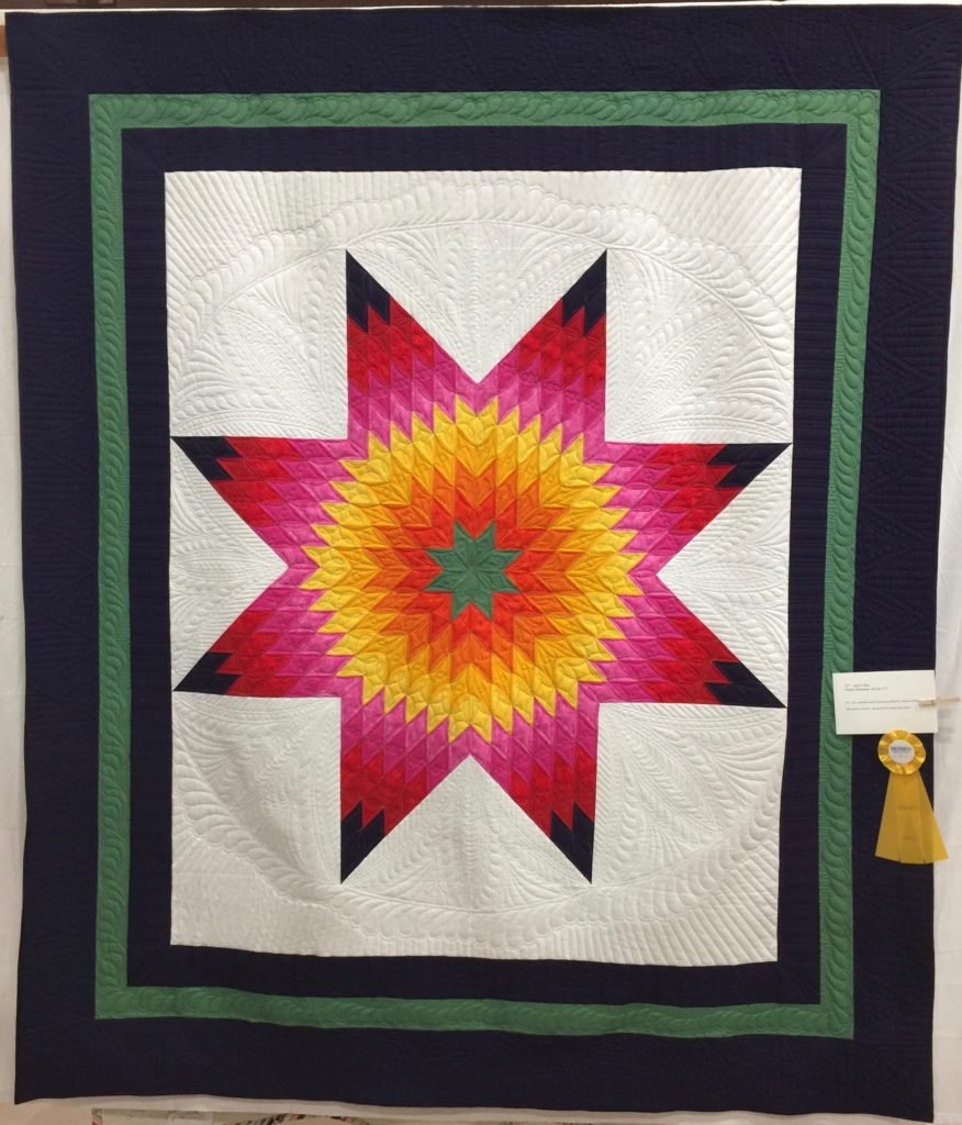 Lone Star by Pieced by Donna Bozeman Vendor's Award and Viewer's Choice 4th place, Quilters by the Sea Show April 2017