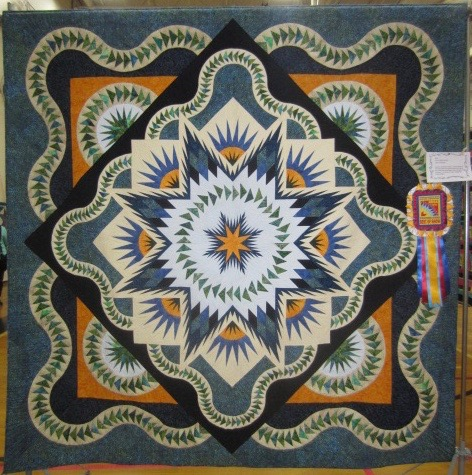Glacier Star pieced by Ann Sabatini, pattern by Judy Niedemeyer. Best of Show NBQA Show 2015, New England Quilt Museum, Viewers Choice, Summer Best of New England Quilts Show, Summer, 2016